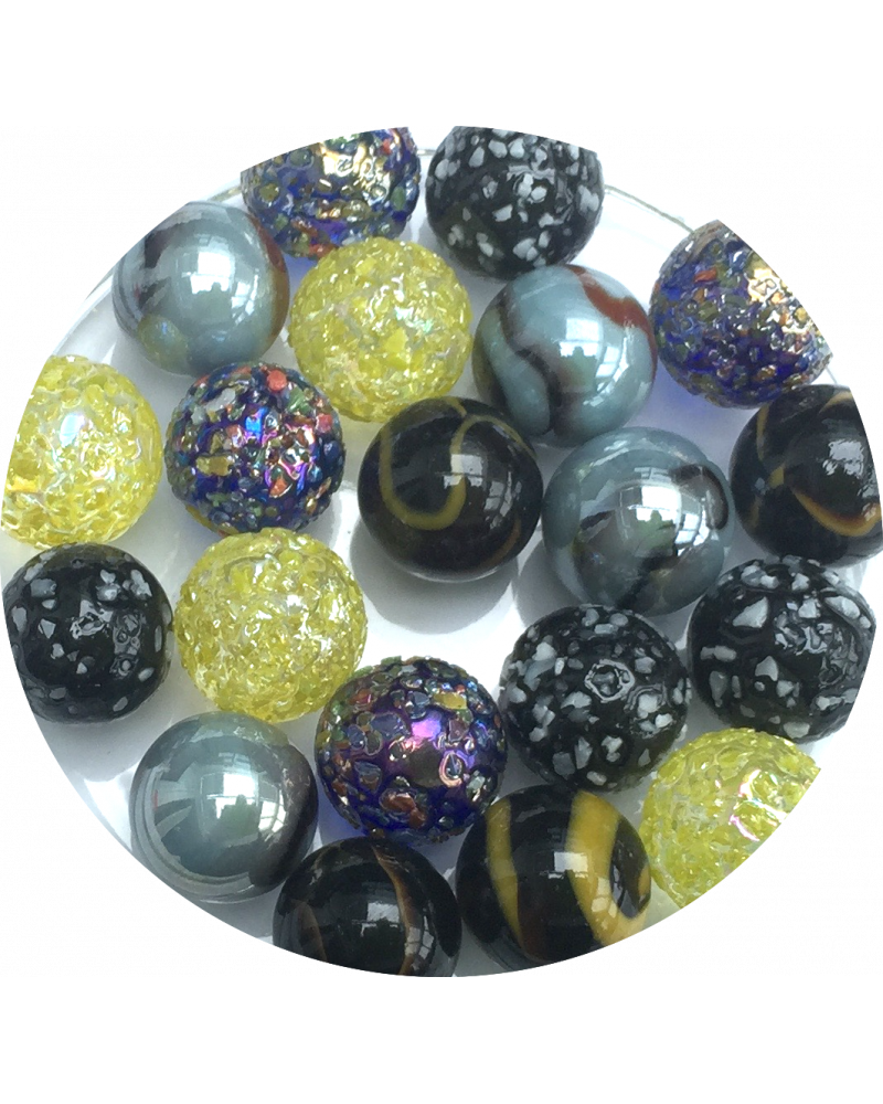 1 Big Marble Perle Noir 50 mm Glass Marbles