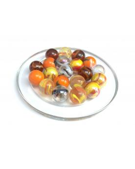 1 calot Coeur Rouge/Orange 25 mm Billes en Verre